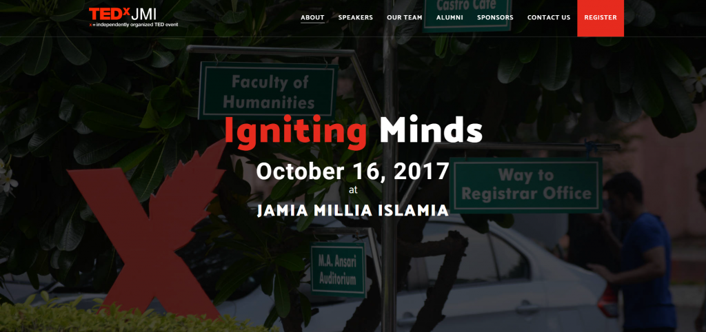 Image of TEDxJMI Event Website