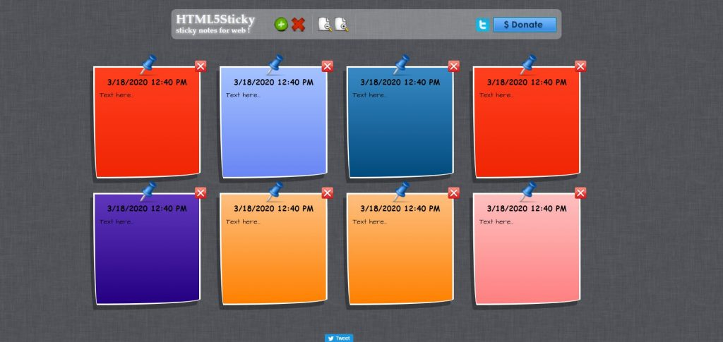 Image Showing UI of HTML 5 Sticky Notes