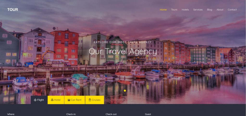 Image Representing UI of Travel Website